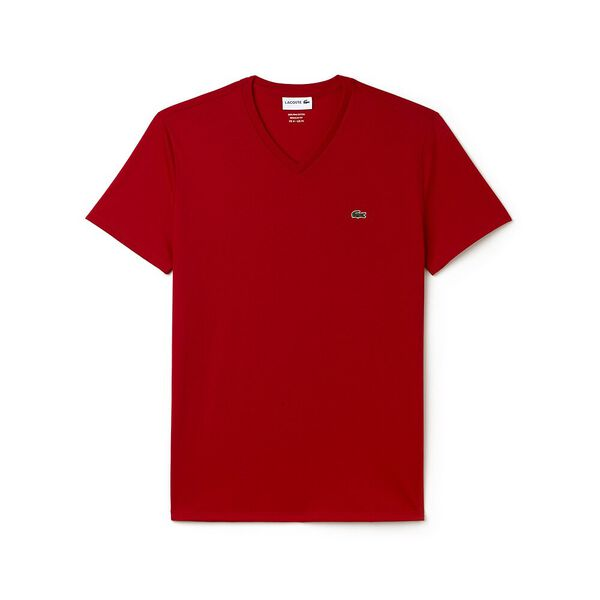 Men's Basic V Neck Pima Tee, RED, hi-res
