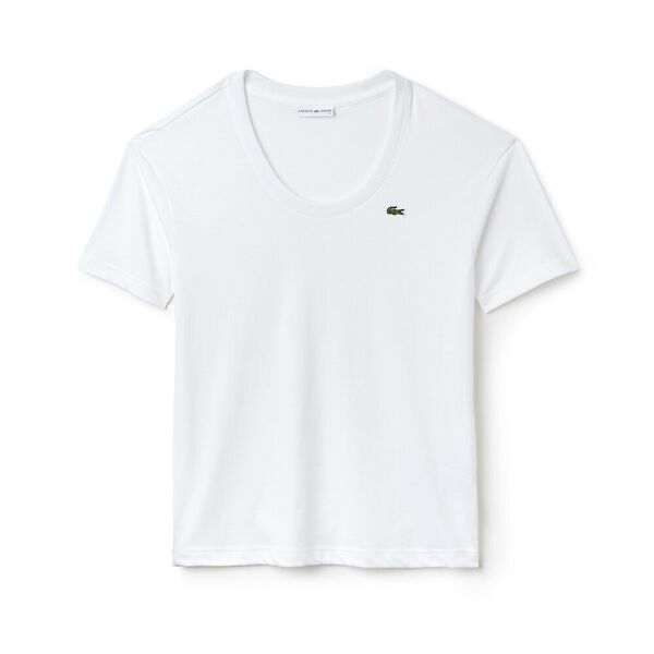 WOMEN'S 3/4 SLEEVE SCOOP NECK TEE, WHITE, hi-res