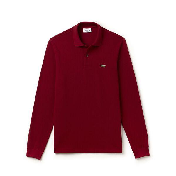Men's Long Sleeve Classic Fit Polo, BORDEAUX, hi-res