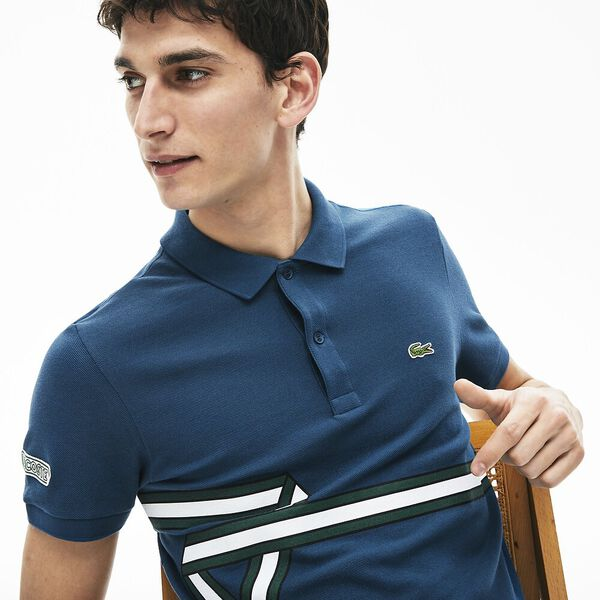 Men's Stripe Print Polo Shirt, LEGION, hi-res