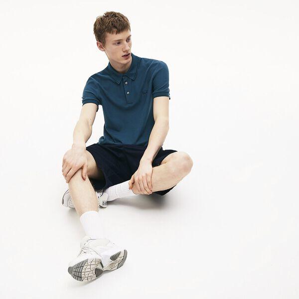 Men's Lacoste Cotton-Silk Piqué Polo Shirt, LEGION/NOIR, hi-res