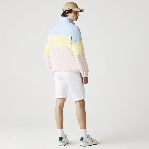 Men's Concealed Hood Water-Resistant Colorblock Jacket, OVERVIEW/YELLOW-NIDUS, hi-res