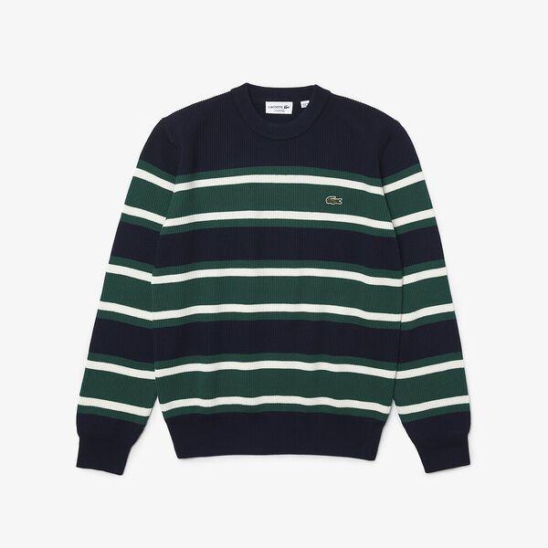 Men's Heritage Crew Neck Striped Sweater, NAVY BLUE/SWING-FLOUR, hi-res