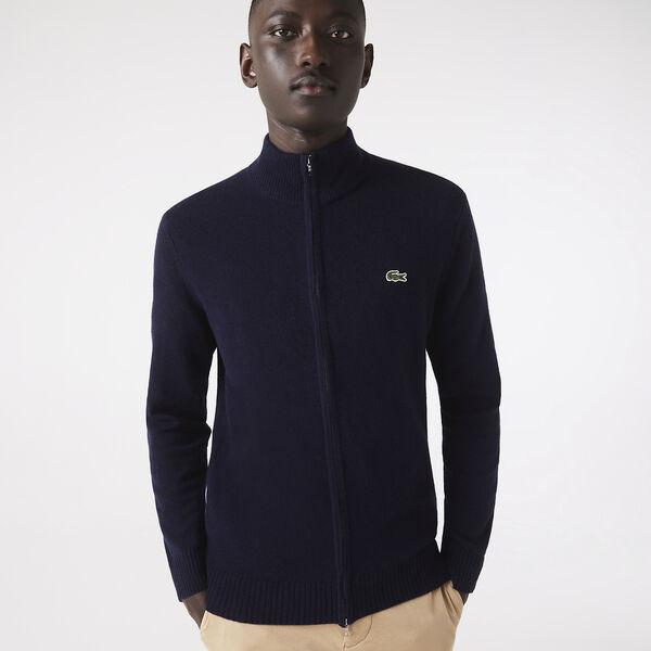Men's High Neck Wool Zip Cardigan, NAVY BLUE, hi-res