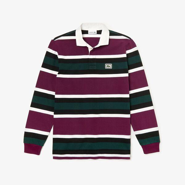 Men's 90S Sportswear Rugby Shirt, EGGPLANT/WHITE-BLACK, hi-res