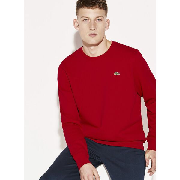 MEN'S BASIC CREW NECK SWEATSHIRT, RED, hi-res