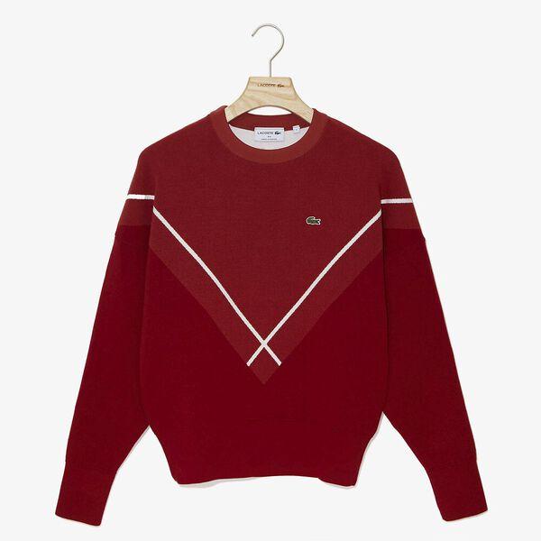 Women's Made In France Jacquard Knit, ALIZARIN/ESTRIS-FLOUR, hi-res