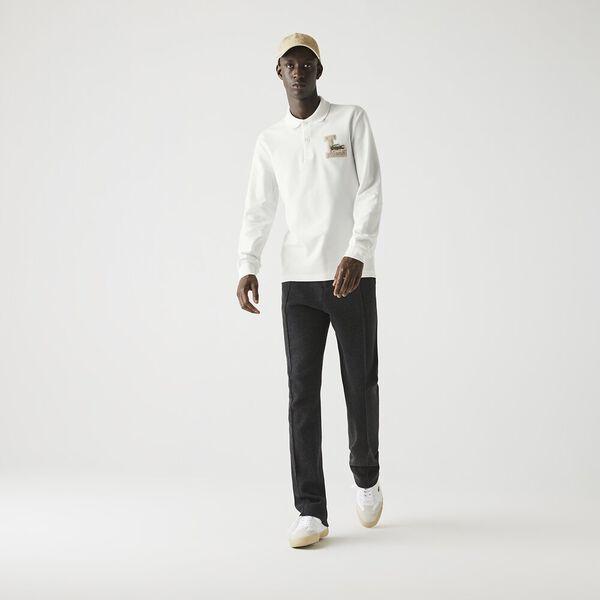 Men's Long-Sleeve Regular Fit Badge Polo, FLOUR, hi-res