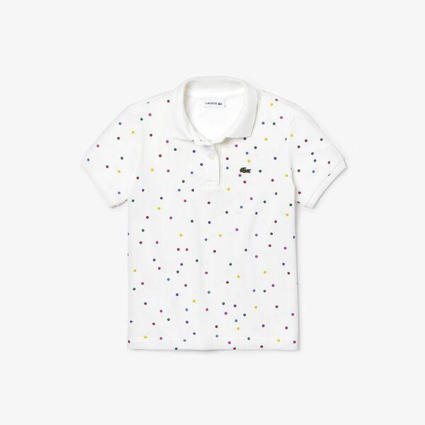 Girl's Polka Dots Polo, FLOUR/MULTICOLOUR, hi-res