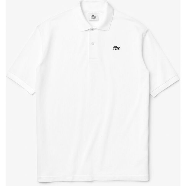 Men's Lacoste LIVE Loose Fit Cotton Piqué Polo Shirt, BLANC, hi-res