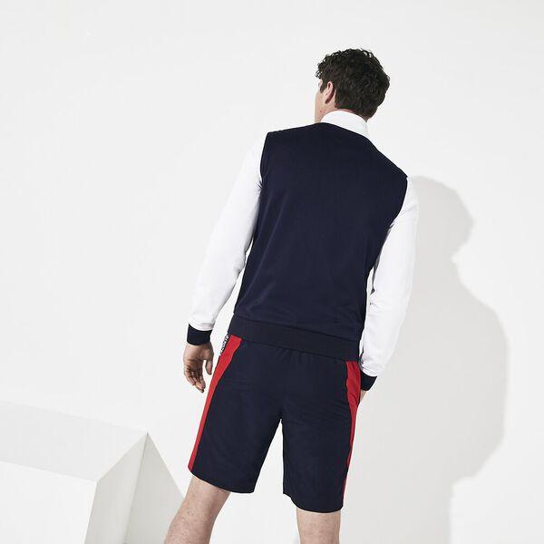 Men's Tennis Run Sweat With Taping, WHITE/NAVY BLUE-RED, hi-res
