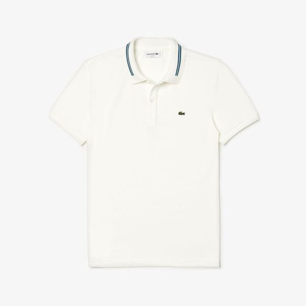 Men's Classic Slim Fit Tipped Collar Polo, FLOUR, hi-res