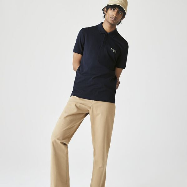 Men's Regular Fit Polo With Badge, NAVY BLUE, hi-res
