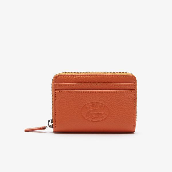 Women's Croco Crew Grained Leather Small Zip Coin Pouch