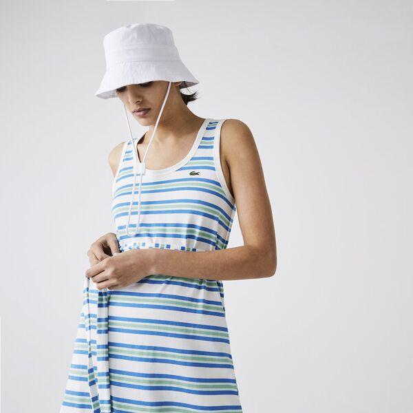 Women's Long Striped Cotton Tank Top Dress, FLOUR/IBIZA SYRINGA LIAMO, hi-res