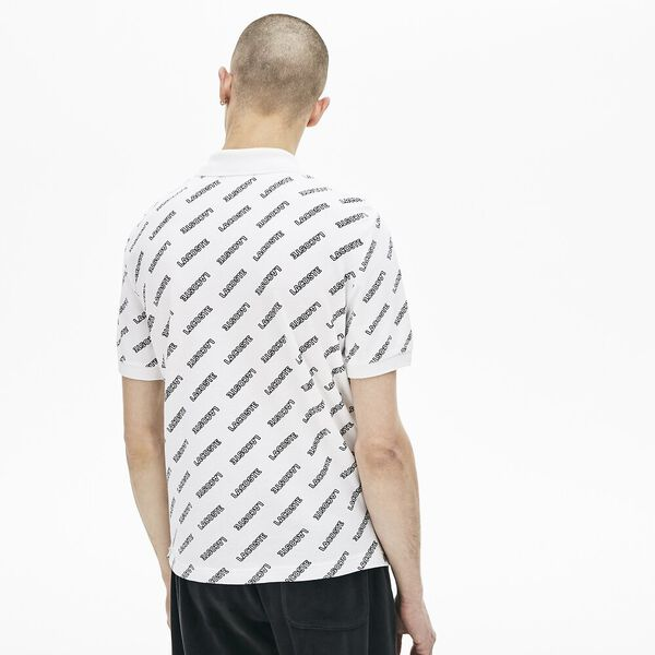 Men's L!ve All Over Print Slim Fit Polo, WHITE/BLACK, hi-res