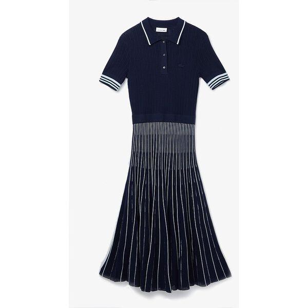 Women's Cotton Polo Dress With Pleated Skirt, NAVY BLUE/SYRINGA-RILL, hi-res