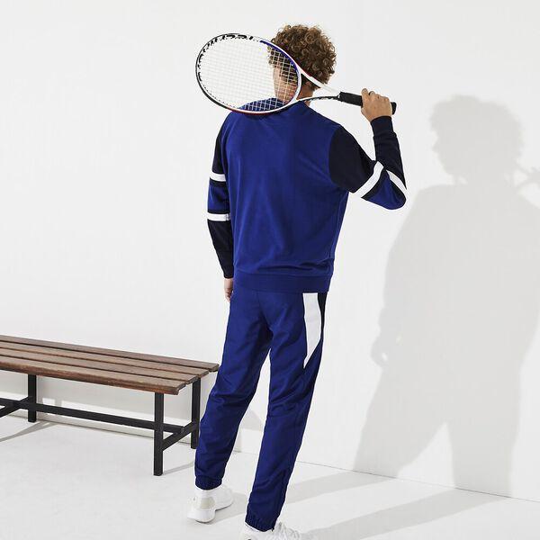 Men's Tennis Non Brushed Sweatshirt, OCEAN/NAVY BLUE-WHITE-OCELOT, hi-res