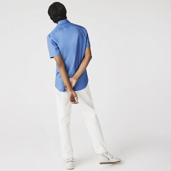 Men's Textured Cotton Poplin Shirt, TURQUIN BLUE, hi-res