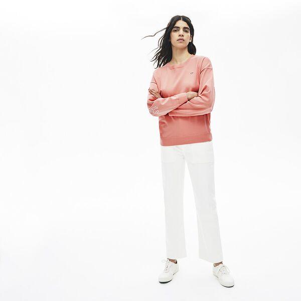 Women's Lacoste LIVE 3D Signature Cotton Crew Neck Sweater, ELFE, hi-res