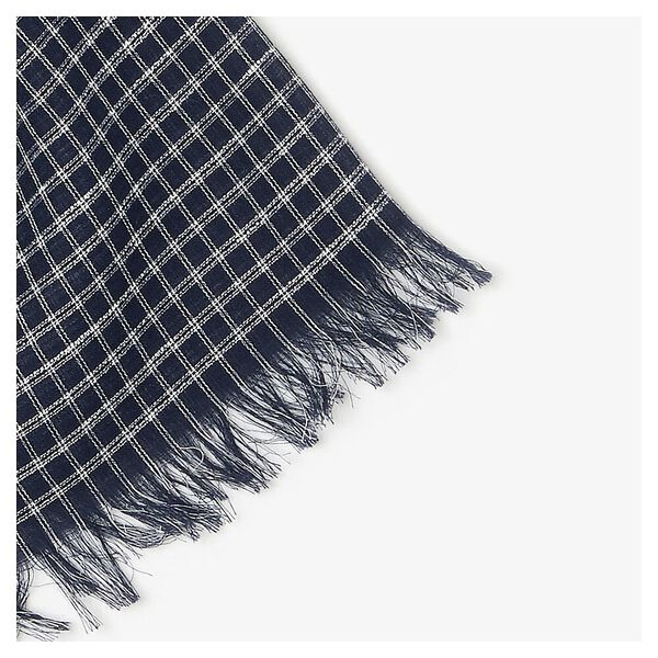 Men's Cotton And Linen Rectangular Check Scarf, NAVY BLUE/WHITE, hi-res