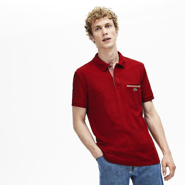 Men's Lacoste Regular Fit Contrast Accents Cotton Piqué Polo Shirt, ALIZARIN/CINNABAR MOULINE, hi-res
