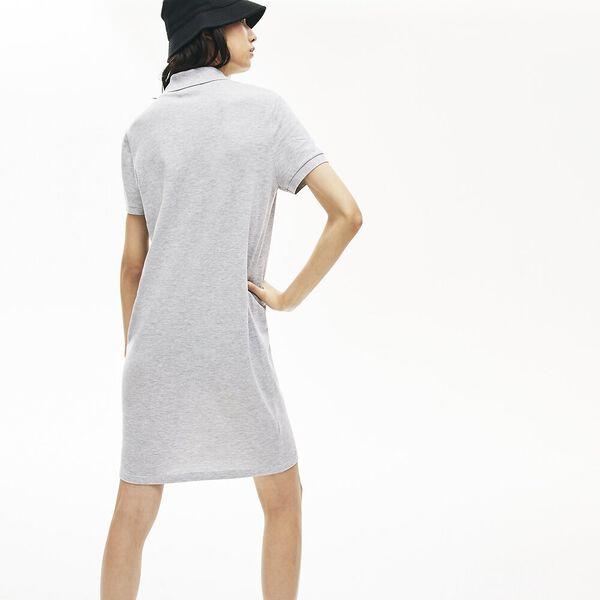 Women's Cotton Piqué Buttoned Polo Dress, ARGENT CHINE, hi-res