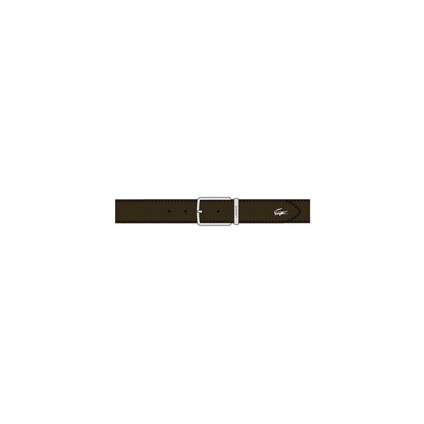 Men's Engraved Buckle Grained Leather Belt, DARK BROWN, hi-res