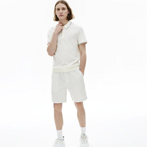 Men's Fine Striped Cotton And Linen Blend Bermudas