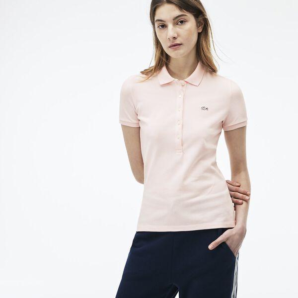 Women's 5 Button Slim Stretch Core Polo, FLAMINGO, hi-res