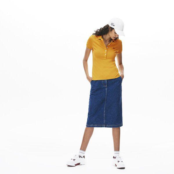 WOMEN'S 5 BUTTON SLIM STRETCH CORE POLO, DARJALI, hi-res