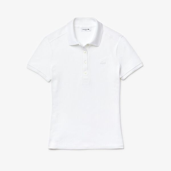 Women's Stretch Cotton Piqué Polo Shirt, BLANC, hi-res
