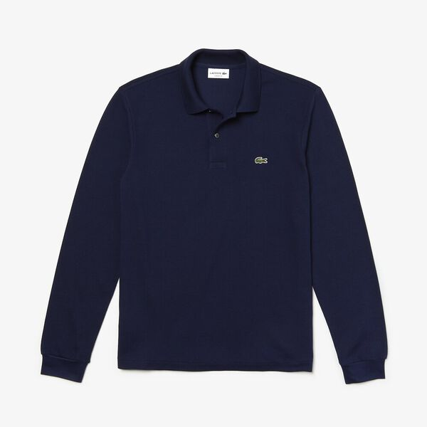 Men's Long Sleeve Classic Fit Polo, NAVY BLUE, hi-res