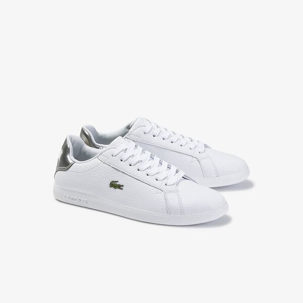 Lacoste Graduate 120 White Silver Leather Womens Trainers Shoes