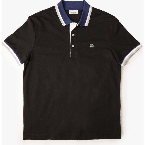 Men's Cotton Piqué Tricolor Details Regular Fit Polo, NOIR/METHYLENE-BLANC-ARGENT CHINE, hi-res