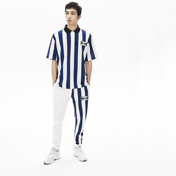 Men's Lacoste LIVE Loose Fit Striped Cotton Piqué Polo Shirt