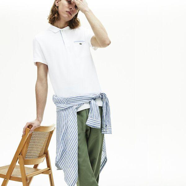 Men's Lacoste Regular Fit Contrast Accents Cotton Piqué Polo Shirt, BLANC, hi-res