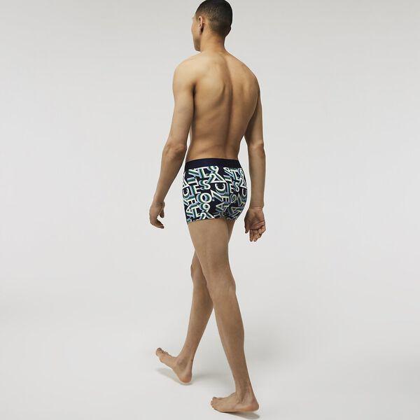 Men's Graphic Design Stretch Cotton Trunk, NAVY BLUE/WHITE, hi-res