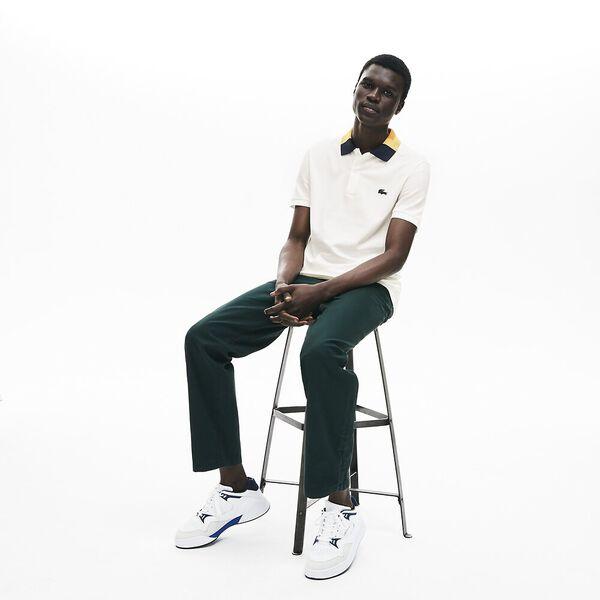 Men's Classic Slim Fit Jacquard Collar Polo, FLOUR, hi-res