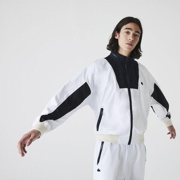 Men's Hooded Lightweight Colorblock Zip Windbreaker, WHITE/ABYSM, hi-res