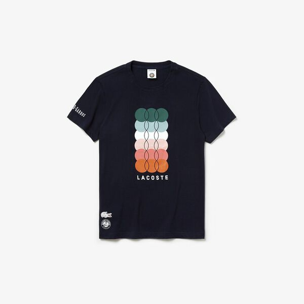 MEN'S FRENCH OPEN COLOURED PRINT TEE, NAVY BLUE/WOODLAND, hi-res