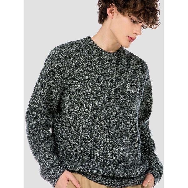 Men's Oversized Croc Embellished Ribbed Wool Blend Crew Neck Sweater, GEODE/ABYSM-BAOBAB, hi-res