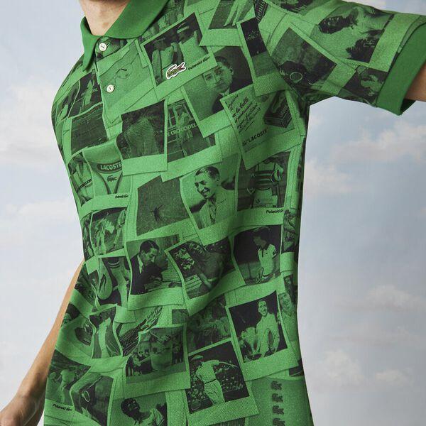 Unisex Lacoste Live x Polaroid Loose Fit Print Polo, MALACHITE/BLACK, hi-res