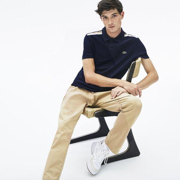 Men's Slim Fit Striped Shoulder Polo, NAVY BLUE/WHITE-VIENNESE, hi-res