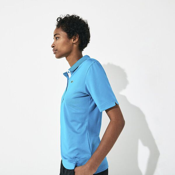 Women's SPORT Breathable Stretch Golf Polo Shirt, TURQUOISE/WHITE, hi-res