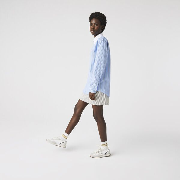 Unisex LIVE Striped Cotton Shirt, NATTIER BLUE/MULTICO, hi-res