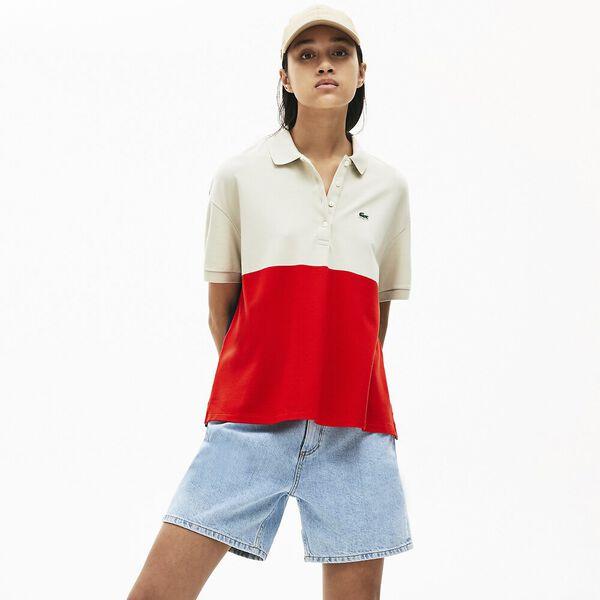 Women's Lacoste Relax Fit Colourblock Light Piqué Polo Shirt, CORRIDA/MARTEN-NAVY BLUE, hi-res