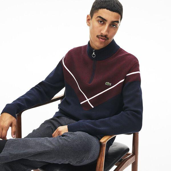 Men's Made In France Jacquard Mock Neck Knit, NAVY BLUE/ALIZARIN-FLOUR, hi-res