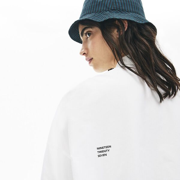Women's Lacoste LIVE Boxy Fit Cotton Shirt, BLANC/FARINE, hi-res