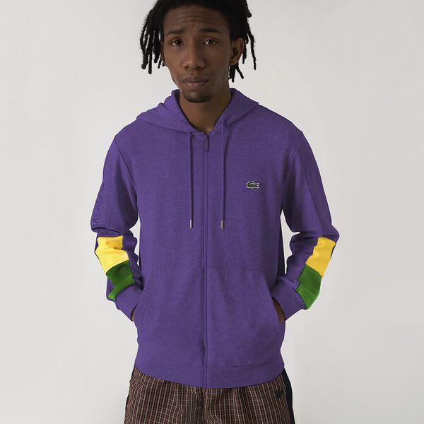 Men's Sports Color Block Lettering Zip Up Sweatshirt